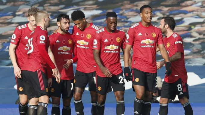 Selebrasi pemain MU saat mengalahkan Everton di Liga Inggris