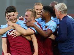 Pemain West Ham United merayakan gol yang dicetak Declan Rice ke gawang Watford pada laga lanjutan Premier League pekan ke-36 di London Stadium, Sabtu (18/7/2020) dini hari WIB. West Ham menang 3-1 atas Watford.