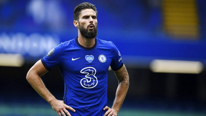 Striker Chelsea, Olivier Giroud, saat melawan Wolverhampton Wanderers pada laga Premier League di Stadion Stamford Bridge, Minggu (26/7/2020). Chelsea menang dengan skor 2-0.