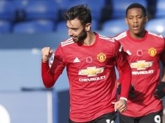 Everton vs Manchester United, (9/11/2020). Bruno Fernandes membuat 2 gol dan 1 assist. Manchester United menang 3-1 setelah tertinggal 0-1.