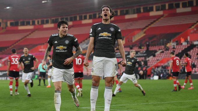 Striker Manchester United, Edinson Cavani, merayakan gol yang dicetaknya ke gawang Southampton, Minggu (29/11/2020). Cavani mencetak dua gol dalam kemenangan 3-2 yang diraih The Red Devils di markas Southampton.